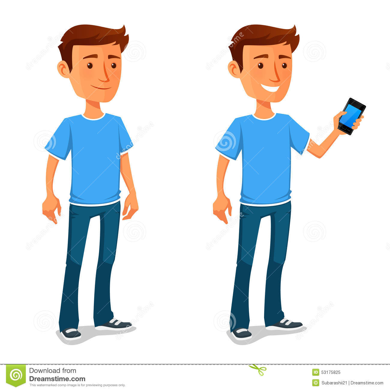 Showing post & media for Cartoon people with cell phone.