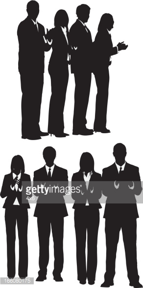 Silhouette Of People Clapping Vector Art.