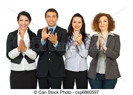 Picture of Clapping business people in a row.