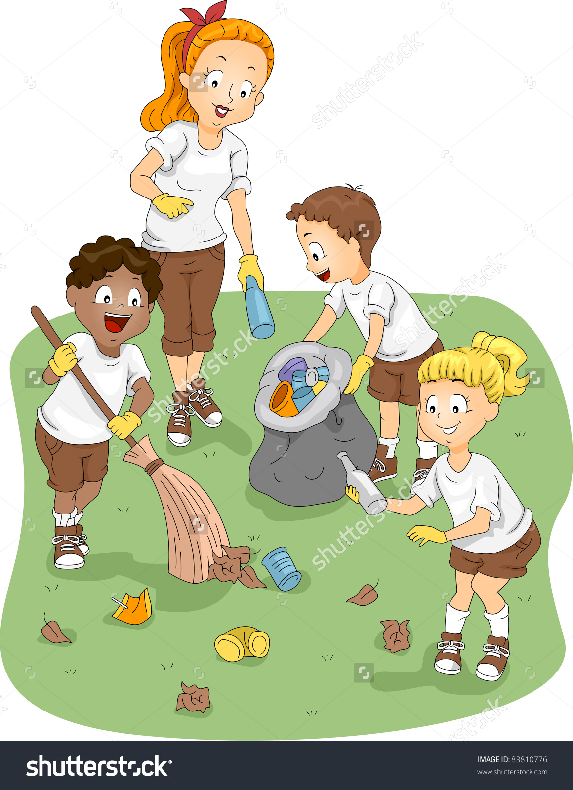 Kids Cleaning The Environment Clipart.