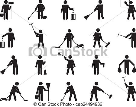 Drawings of Pictogram people cleaning illustrated on white.