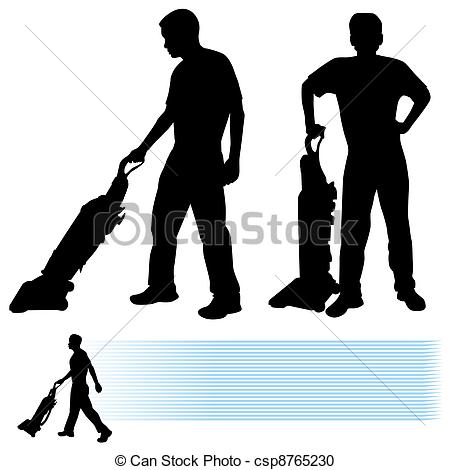 Vector Clipart of Man Using Vacuum Cleaner.