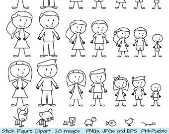 Family Clipart Black And White 7 People.