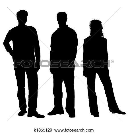 Stock Illustration of People silhouettes black white k1855089.