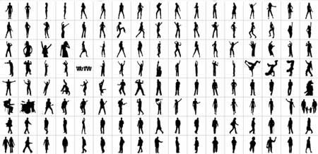 People Clip Art : 2500+ Silhouettes Vector Graphics.