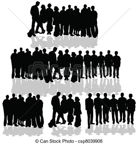 Clip Art Vector of people group silhouette of art vector.