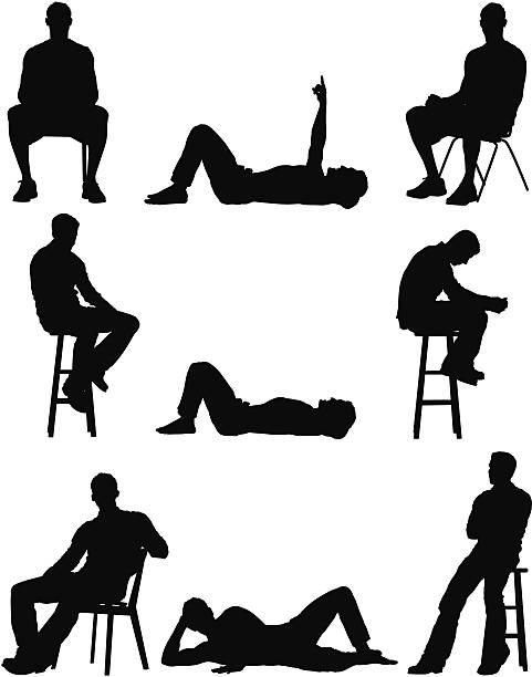 Lying Down Lying On Back Silhouette Adults Only Clip Art, Vector.