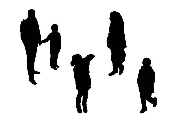 Silhouette Of Girls Looking Down Clip Art, Vector Images.