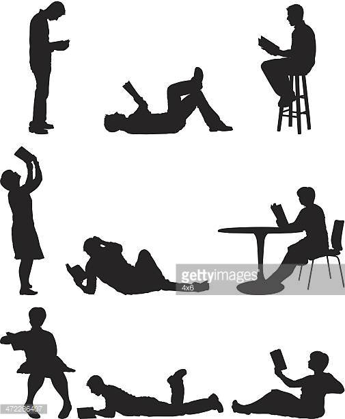 Silhouette Of People With Books Vector Art.