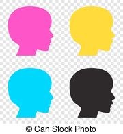 Clip Art Vector of Clothes peg sign. CMYK icons on transparent.