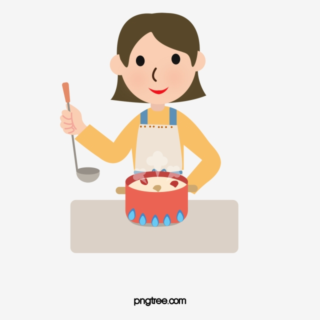 Cartoon Cooking Girl, Cooking Clipart, Hand Painted Cartoon.