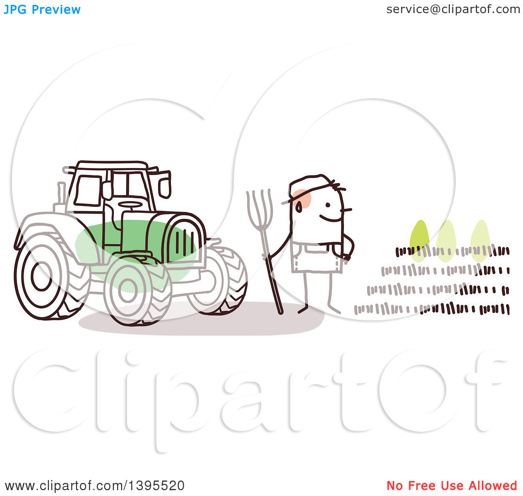 Clipart of a Sketched Stick Man Farmer by a Tractor and Crop.