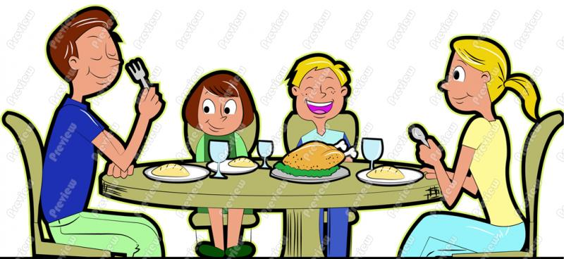 Family dining clipart.