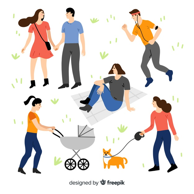 People doing things in the park collection Vector.