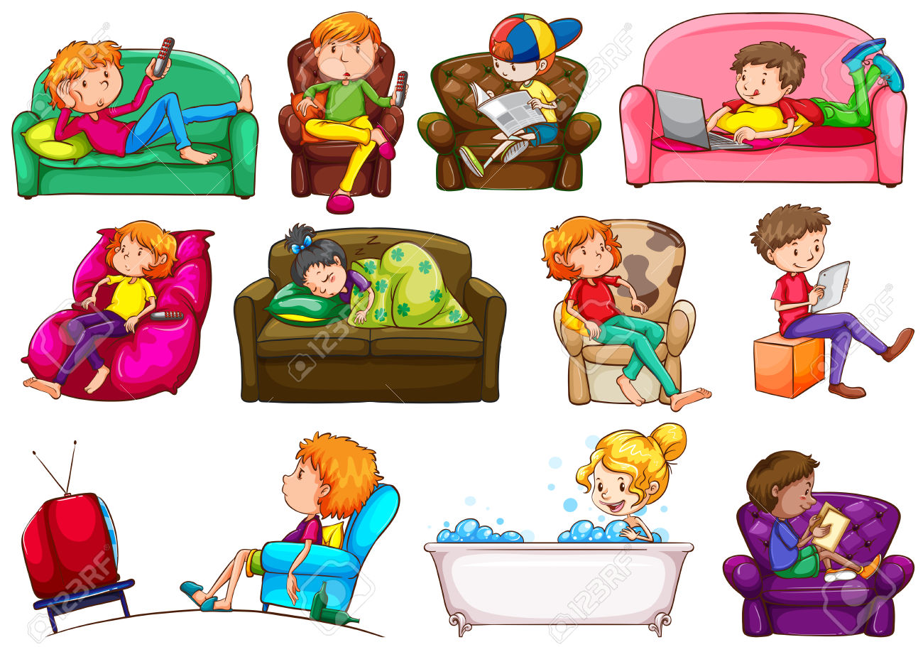 Kids broadcasting watching tv clipart.
