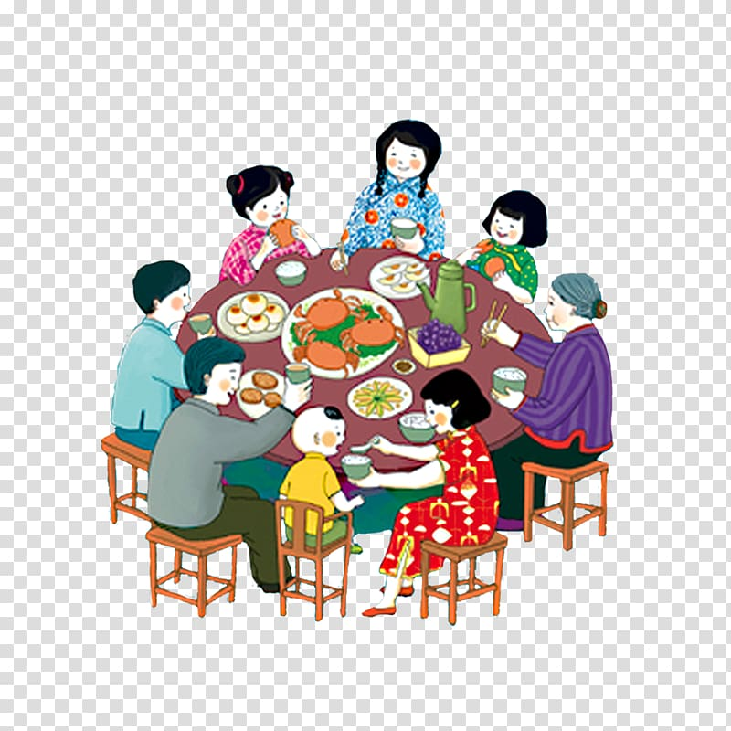 Illustration of family eating meal together, Reunion dinner.