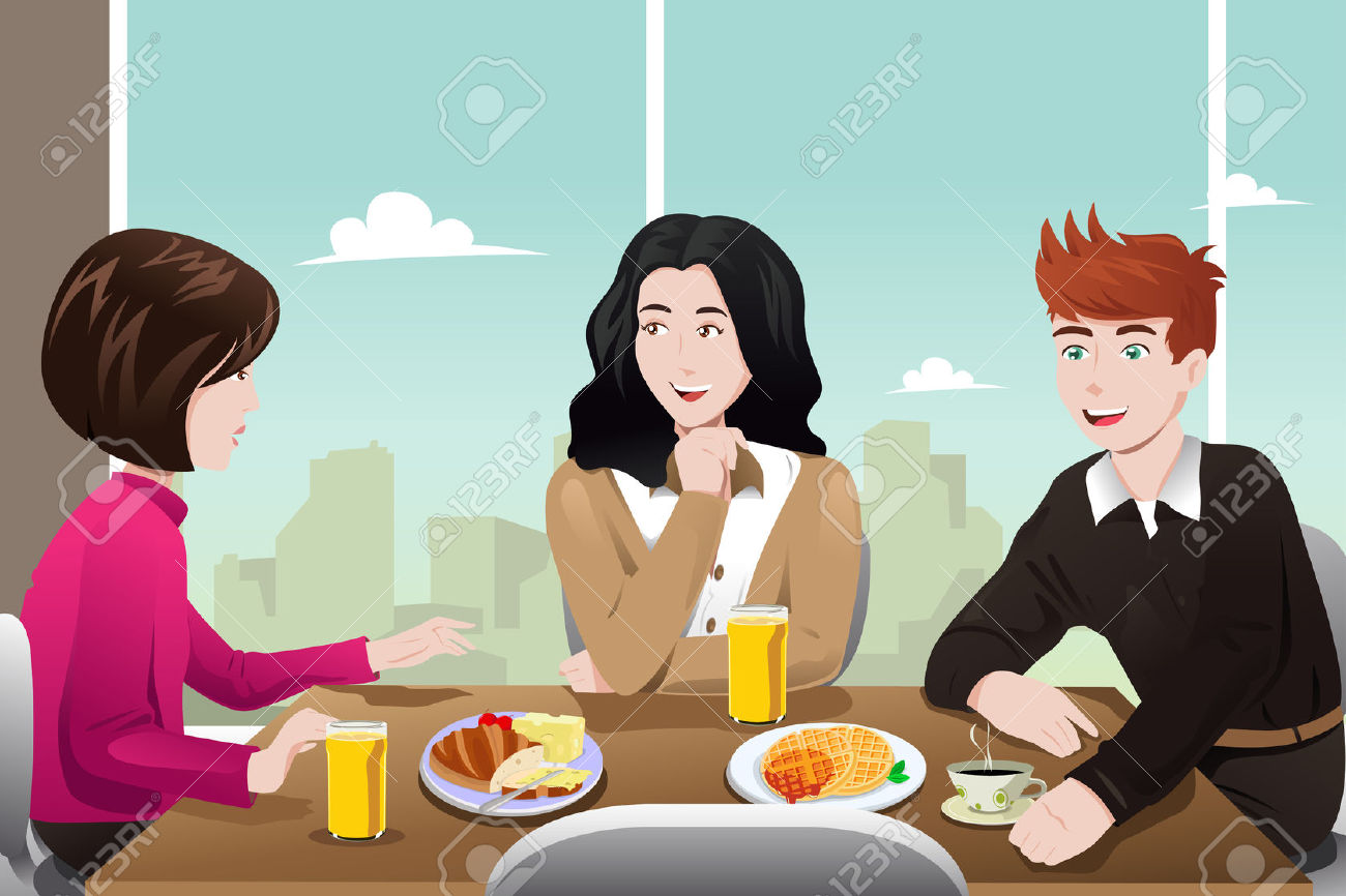 Illustration Of Business People Eating Together In The Cafeteria.
