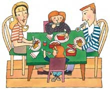 Friends Eating Together Clipart.