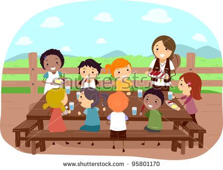 Illustration Of Campers Eating Together.