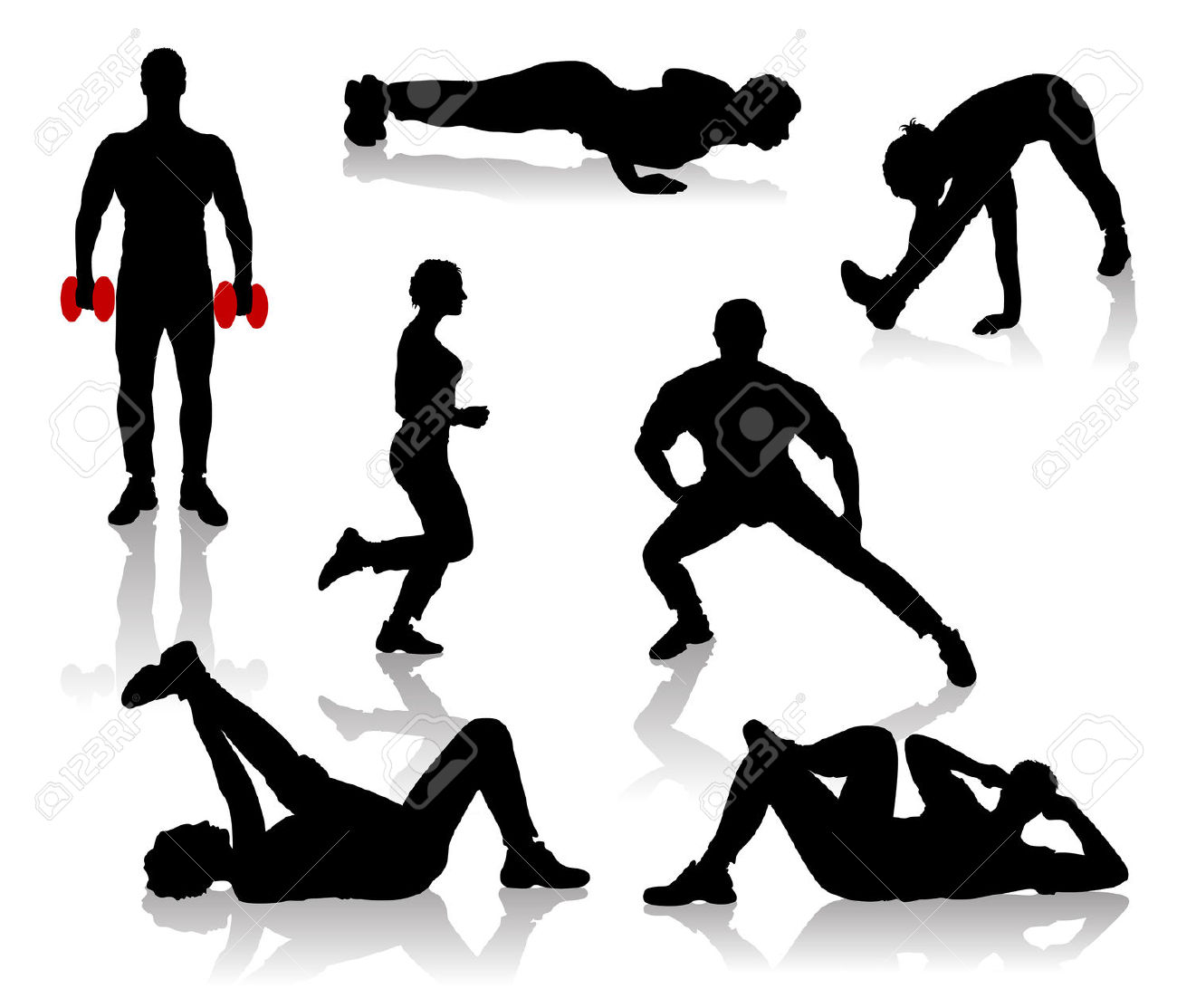 Silhouettes Of Exercises People Royalty Free Cliparts, Vectors.