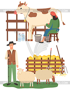 Farming People, Woman with Cow and Man with Sheep.