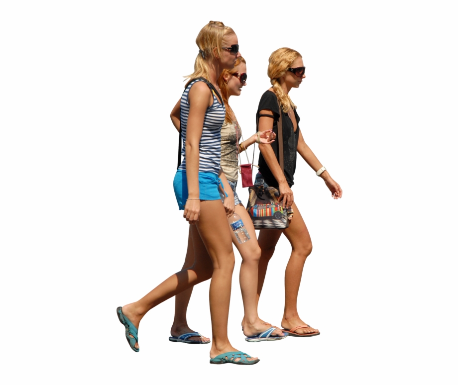 Blonde Women Walking In Group Render People People.
