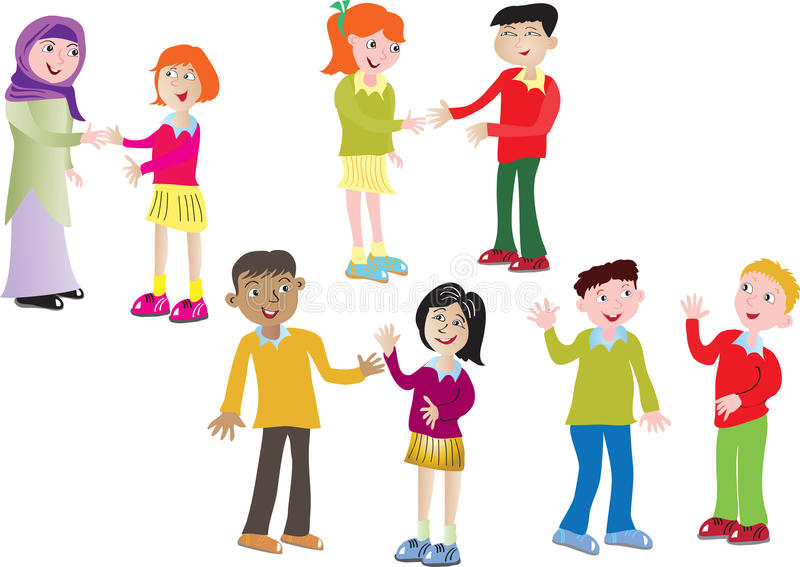 Kids Greeting Each Other Clipart.