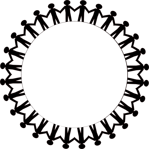 Circle Holding Hands Stick People Black Clip Art at Clker.