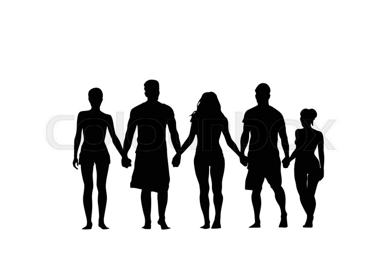Group Of People Holding Hands Silhouette.