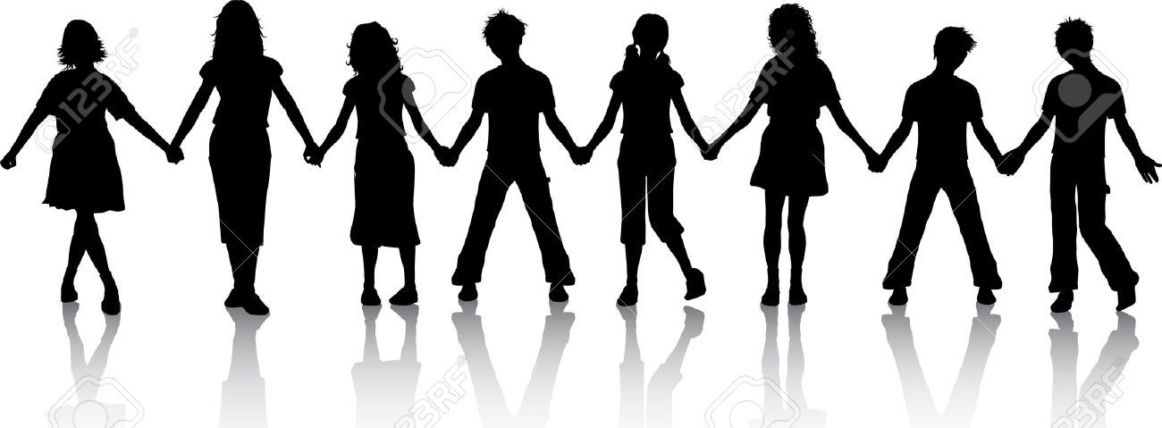 PEOPLE HOLDING HANDS SILHOUETTE CLIPART.
