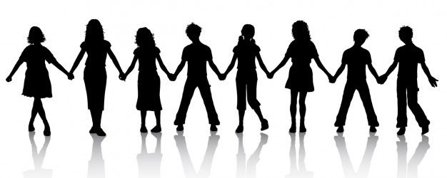 Children holding hands silhouette Free Vector.