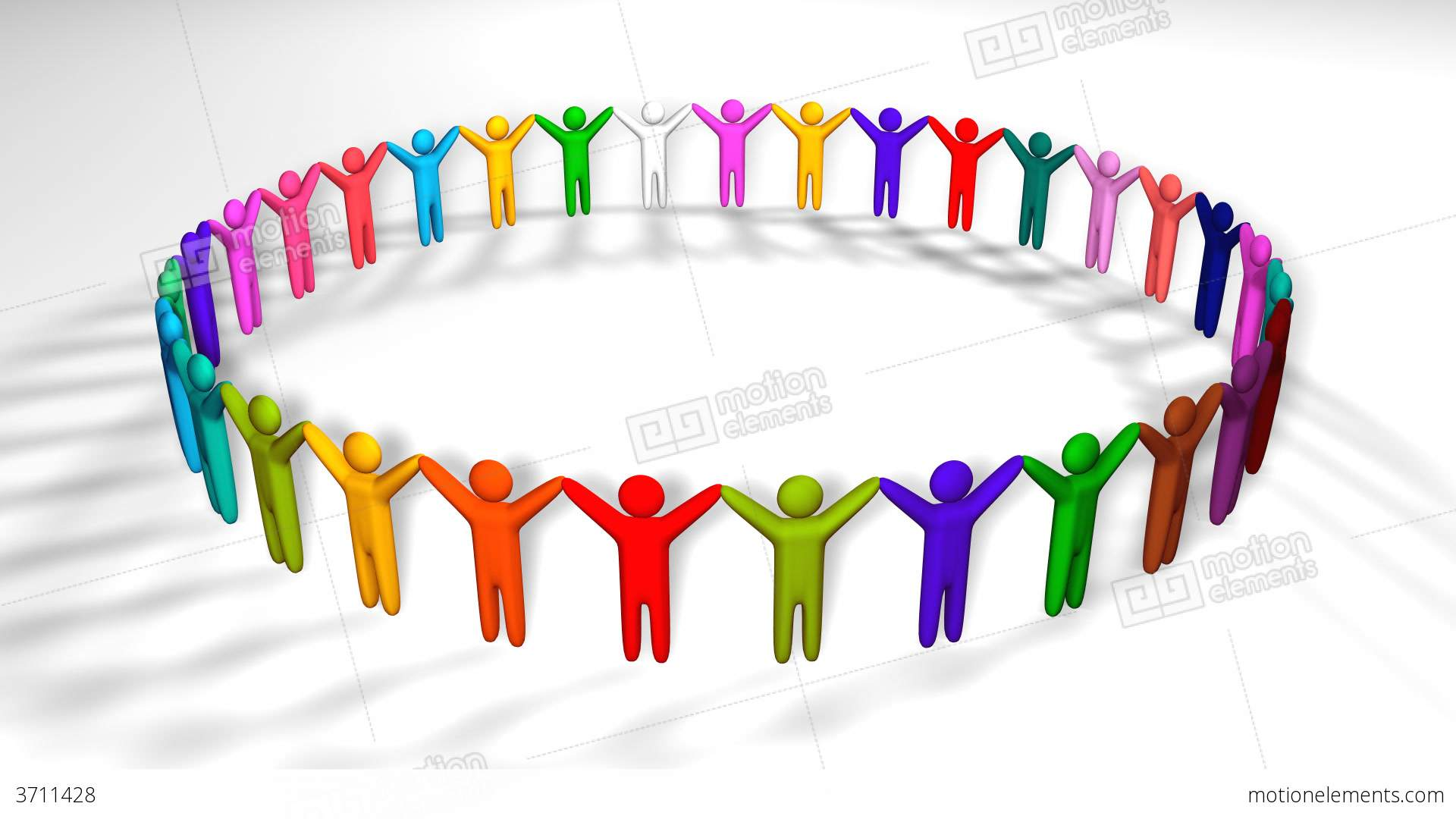 People Holding Hands In A Circle Stock Animation.