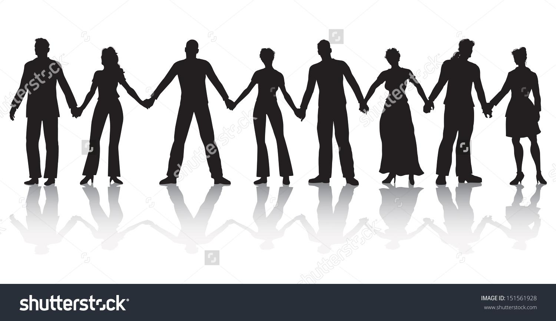 Vector Illustration Eight People Standing Row Stock Vector.