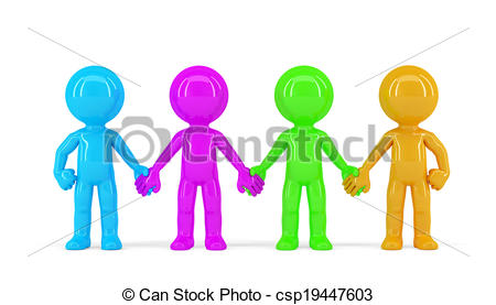 Clip Art of group of people holding hands silhouette 3.
