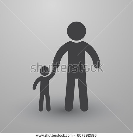 Father Son Stick Figure Silhouettes Holding Stock Vector 105089864.