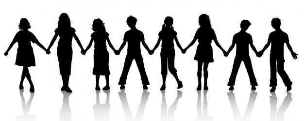 Children Holding Hands Silhouette Vector.