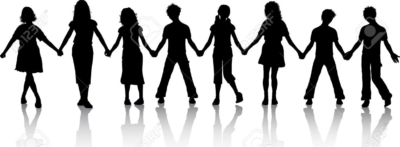 Silhouettes Of Children Holding Hands Royalty Free Cliparts.