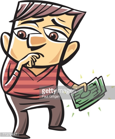 Drawing Of A Man Holding Money Vector Art.