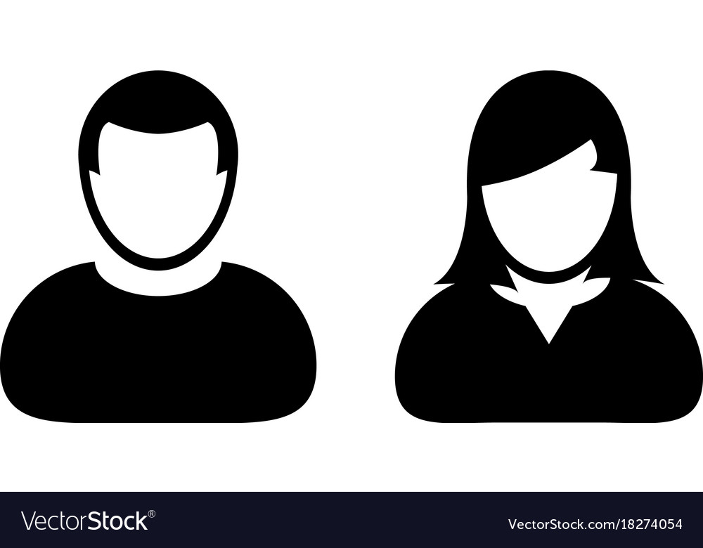People icon male and female sign of user person.
