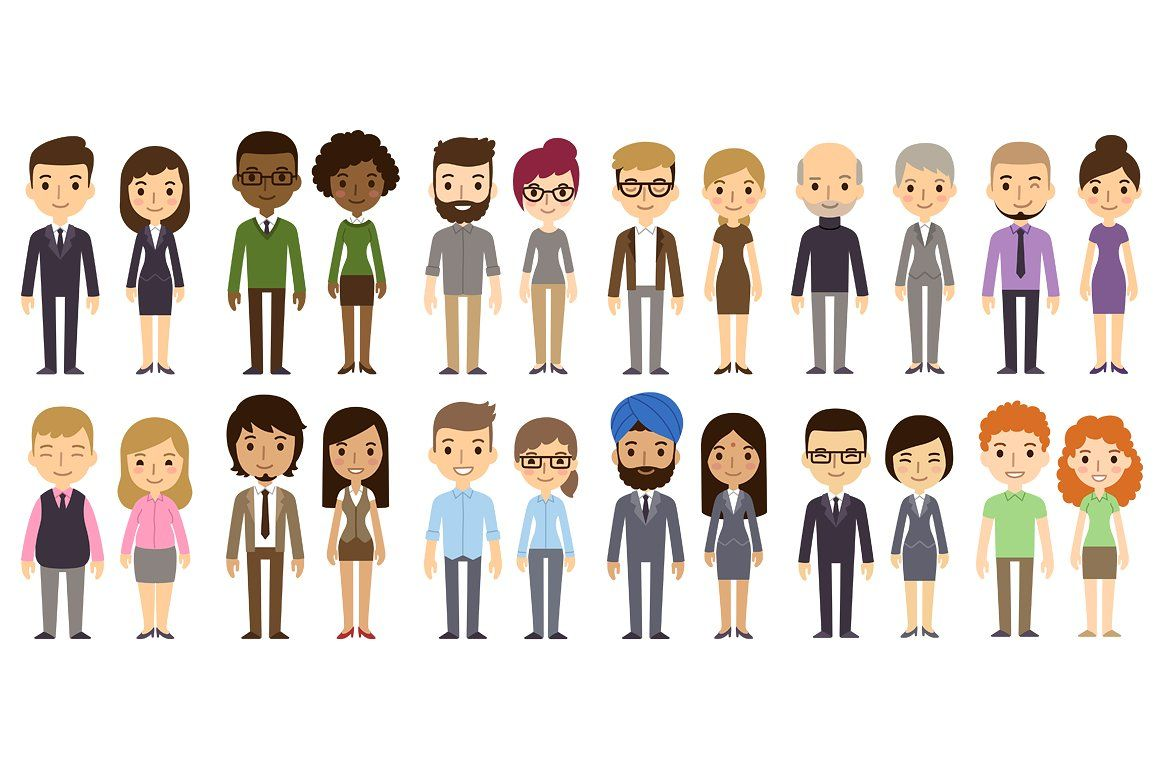 Diverse vector businesspeople characters clipart business.