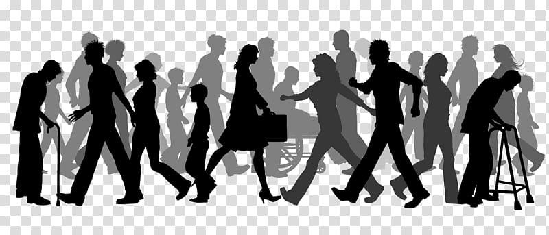 Silhouette of walking group of people illustration, Walking.