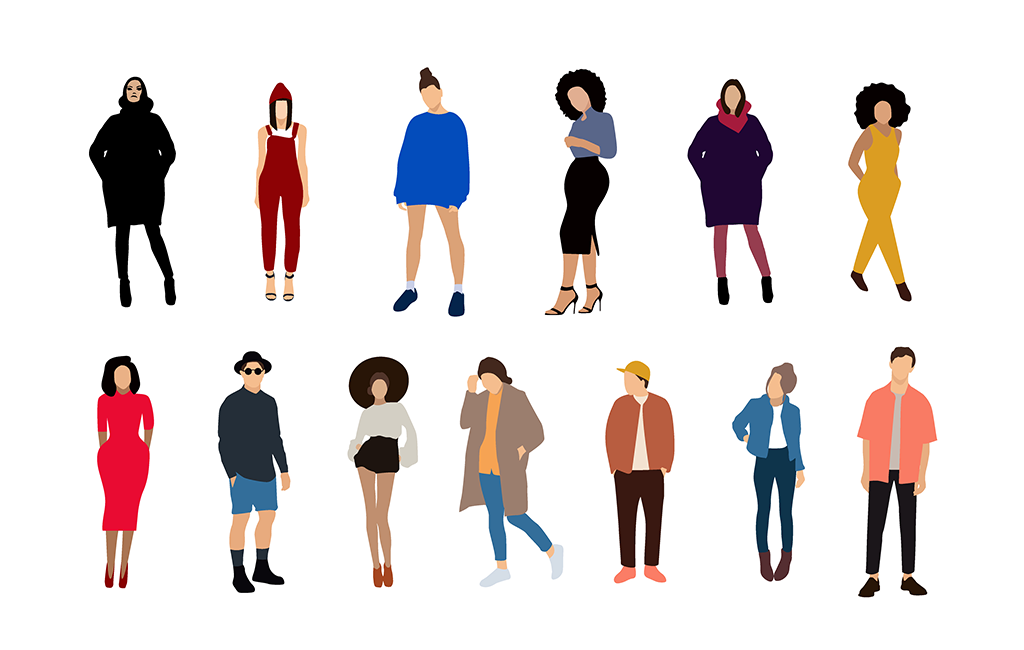 Flat Fashion People Illustrations.