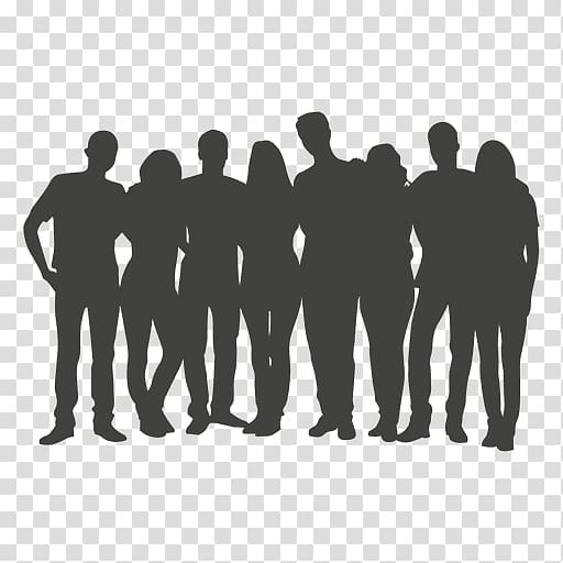 Silhouette , group of people transparent background PNG.