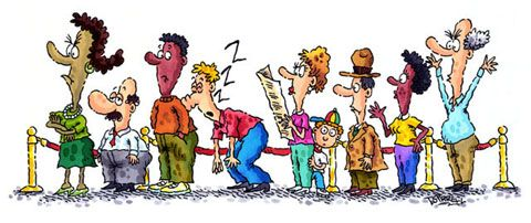 Cartoon People Waiting In Line Clipart.