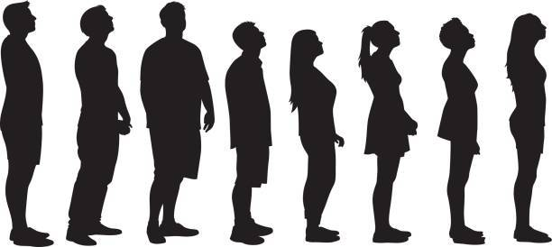 Vector silhouettes of a group of people standing in line.