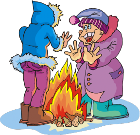 People In Cold Dressed Warm For Winter Clipart.
