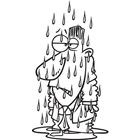 Cartoon Man Getting Soaked in the Rain by Ron Leishman.
