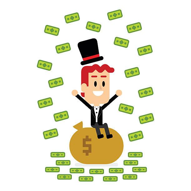 Simple Business People Money Rain Clip Art, Vector Images.