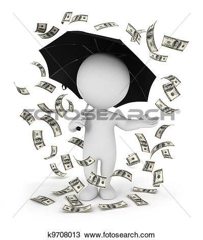 Drawing of 3d white people money rain k9708013.