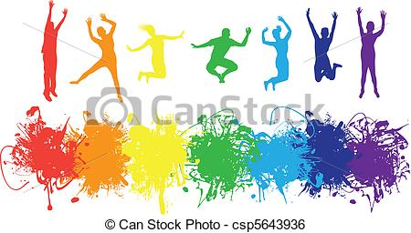 Clip Art Vector of people jumping.